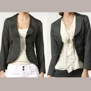 CAbi Work It Gray Blazer Peplum Jacket #769 Size 6